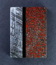 Gem Bone/ Gibeon Meteorite/ Black Onyx Composite Cabochon  #15442
