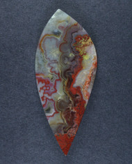 Crazy lace Agate Cabochon- Red, Orange and Yellow w Sagenite  #15822