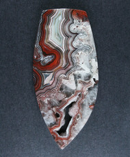 Crazy lace Agate Cabochon- Red, Pink w Druzy  #17133