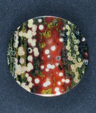 Guadalupe Poppy Jasper Cabochon Red, Green and White   #17611
