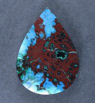Deep Blue Chrysocolla w Cuprite Designer Cabochon   #17745