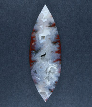 Dramatic Red and White Bullion Plume Cabochon  #17779