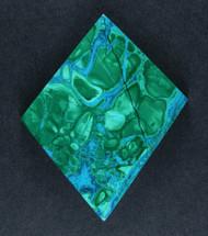 Exceptional Bright Blue Chrysocolla w Malachite Cabochon  #17805