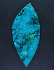 Bright Blue Chrysocolla and Malachite in Agate Cabochon  #17813