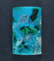Bright Chrysocolla and Malachite in Agate Cabochon #17857