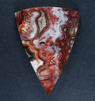 Crazy lace Agate Cabochon- Red, Orange and White  #17882