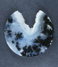 Exceptional Marfa Black Plume Agate Designer Cabochon  #17901