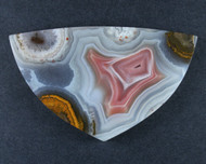 Top Shelf Laguna Agate Cabochon-  Red and White w Sagenite  #18140