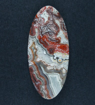 Crazy lace Agate Cabochon- Red, Orange and White  #18160