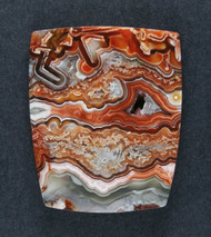 Crazy lace Agate Cabochon- Red, Orange and White  #18375