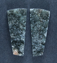 Brilliant Black Druzy on Agate- Matched Pair  #18442