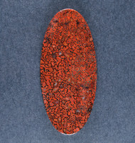 Beautiful Agatized Dino Bone Cabochon- Red and Black  #18521