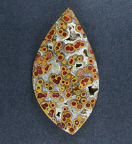 Guadalupe Poppy Jasper Cabochon Red, Yellow and White  #18706