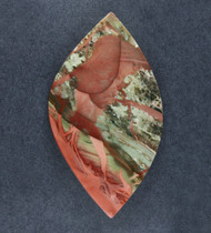 Dramatic Carrasite Jasper Cabochon- Green Pink + Red  #18930