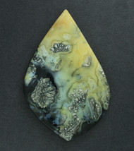 Exceptional Cabochon of Indo Marcasite in Black Agate  #19177