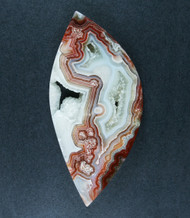 Crazy lace Agate Cabochon- Red, Orange and White  #19238
