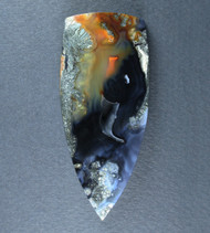 Exceptional Cabochon of Indo Marcasite in Black Agate  #19457