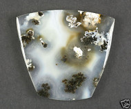 Fantastic Black and White Marfa Plume Agate Cabochon