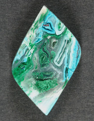 Bright Blue Chrysocolla and Malachite in Agate Cabochon  #12193