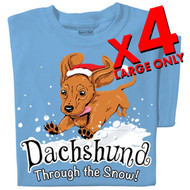 Dachshund Through the Snow T-shirts | x4 Family Pack | SIZE LARGE ONLY