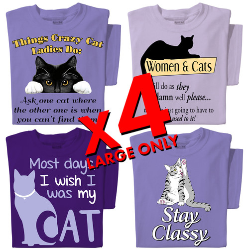 Cat T-shirts | x4 Family Pack | SIZE LARGE ONLY Get 1 of each of these cat t-shirts!
