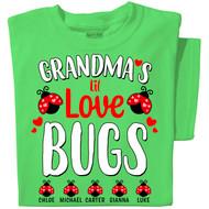 Grandma's Lil Love Bugs | Personalized T-shirt | Green T-shirt