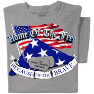 Home of the Free Because of the Brave | Personalized T-shirt | Sport Gray T-shirt