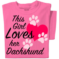 This Girl Loves her (Dog Breed) | Personalized Dog Tee | Pink Tee