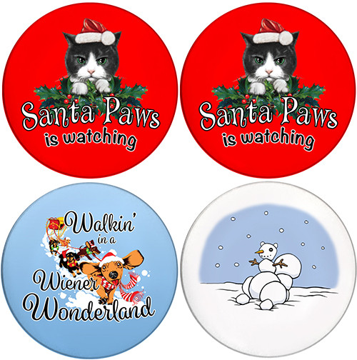 Christmas Variety Pack | Sandstone Ceramic Coasters | 4 Pack