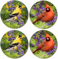 Summer Cardinal & Summer Goldfinch Coaster | Sandstone Coaster | 4 Pack