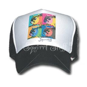 SqWarhol Black Trucker Hat   Squirrel Hat