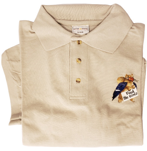 Feed the Birds Embroidered Sport Shirt - khaki