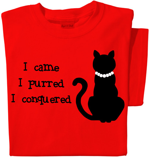 I Came, I Purred T-shirt | Red Tee | Funny Cat Tee