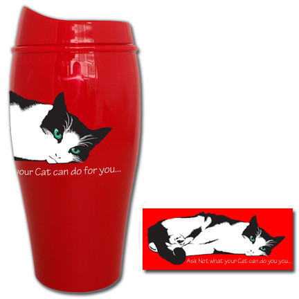 Ask not what your cat can do for you... Tumbler   Travel Mug