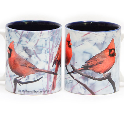 Snow Male Cardinal Mug | Jim Rathert Photography