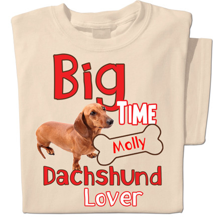 Dachshund T-shirt can be personalised