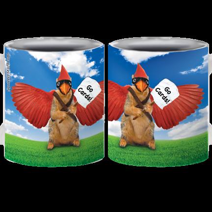 """Rally Squirrel """"Go Cards!"""" Mug   Funny Squirrel Mug"""