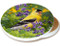 Summer Goldfinch Sandstone Ceramic Coaster | Image shows front and cork back
