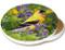 Summer Goldfinch Sandstone Ceramic Coaster   Image shows front and cork back