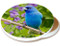Summer Indigo Blue Bunting Sandstone Ceramic Coaster | Image shows front and cork back