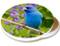Summer Indigo Blue Bunting Sandstone Ceramic Coaster | Image shows front and cork back