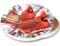 Winter Cardinal Sandstone Ceramic Coaster | Image shows front and cork back