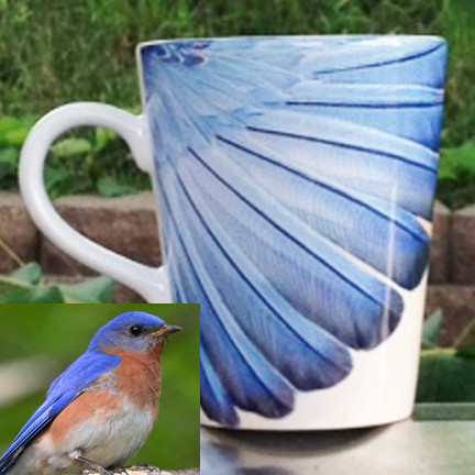 Bluebird Feathers Latte Mug | 12 oz. ceramic | Bird Mug