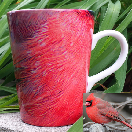 Cardinal Feather Latte Mug | 12 oz. ceramic  | Bird Mug