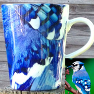Blue Jay  Feather Latte Mug | 12 oz. ceramic | Bird Mug