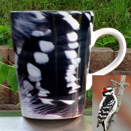 Woodpecker Feather Latte Mug | 12 oz. ceramic | Bird Mug