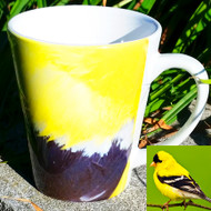 Goldfinch Feather Latte Mug | 12 oz. ceramic | Bird Mug
