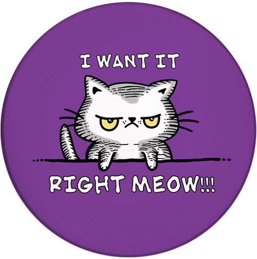 I want it Right Meow Sandstone Ceramic Coaster | Funny Cat Coaster