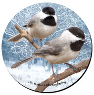 Chickadee Sandstone Ceramic Coaster | Front