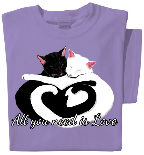 All You Need Is Love T-Shirt | Cuddling Cats on Violet Tee | 100% Cotton Pre-Shrunk